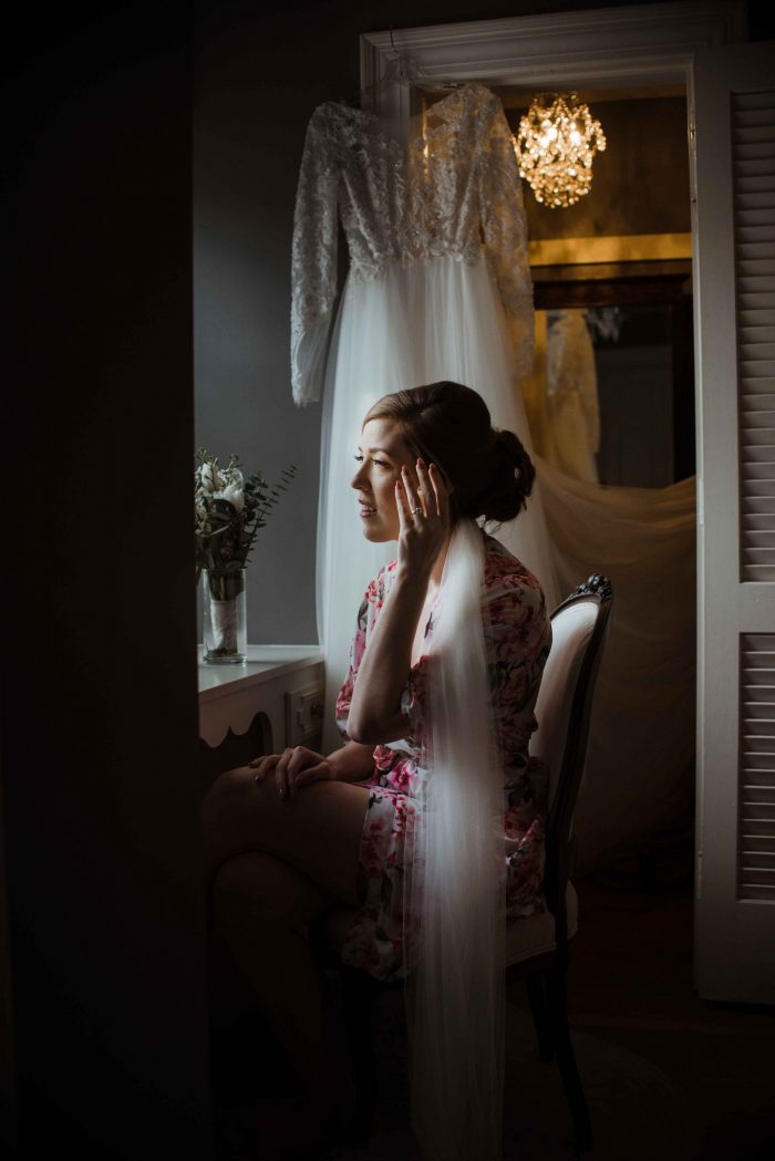 Raleigh Wedding Photographer bride get ready bridal pajamas highgrove estate fuqary varina